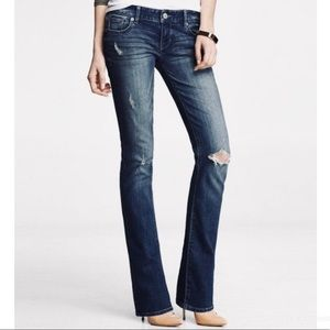 EXPRESS STELLA LOW RISE BARELY BOOT CUT TALL JEANS
